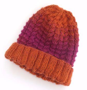 Orange knitted beanie hat