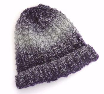 Purple  knitted beanie hat