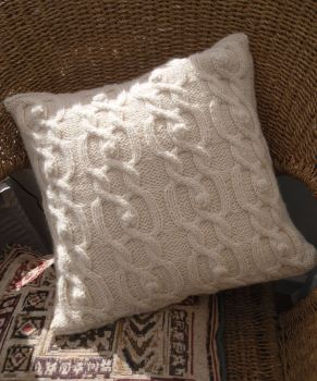 "Natural Cabled cushion 14"" x 14"" hand knit"