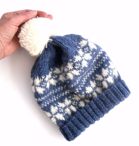 Fair Isle hand knit bobbly hat