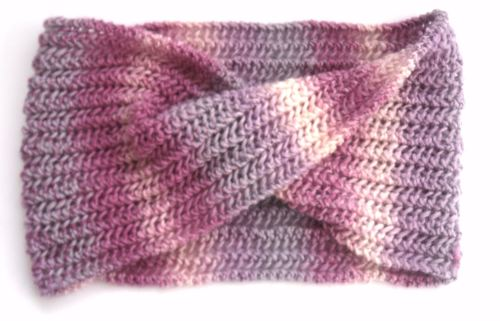 Pink Striped cowl scarf