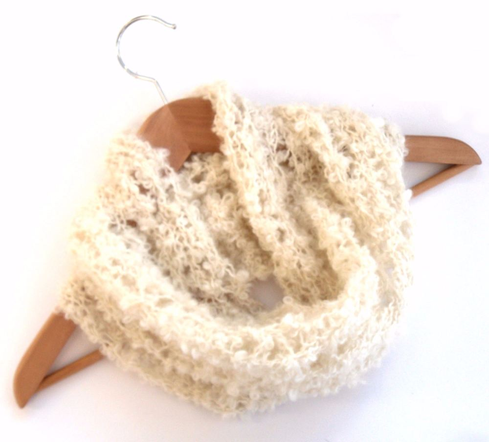 Cream Mohair lace cowl