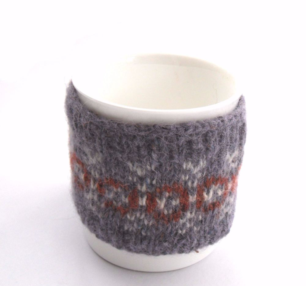 Purple HeartsFair isle Mug cozy