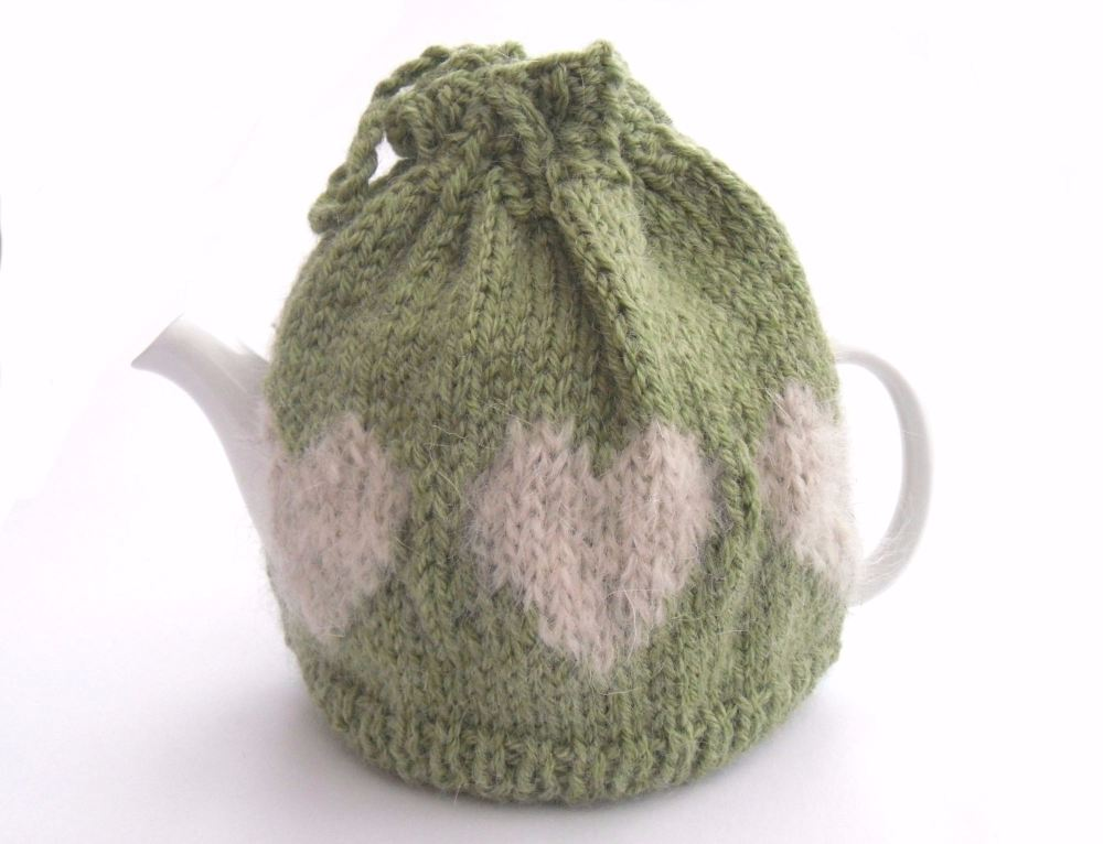 Green hearts Tea Pot cosy