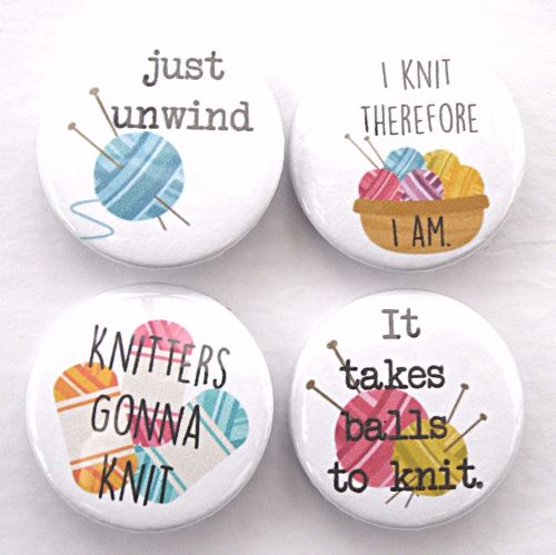 Set of 4 Knitters Badges