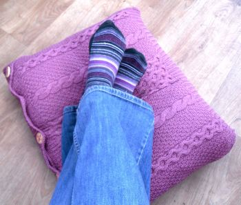 Recycled Pink Cable Cushion / Pillow Throw    SALE