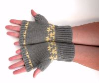 Grey / Lemon Fingerless gloves