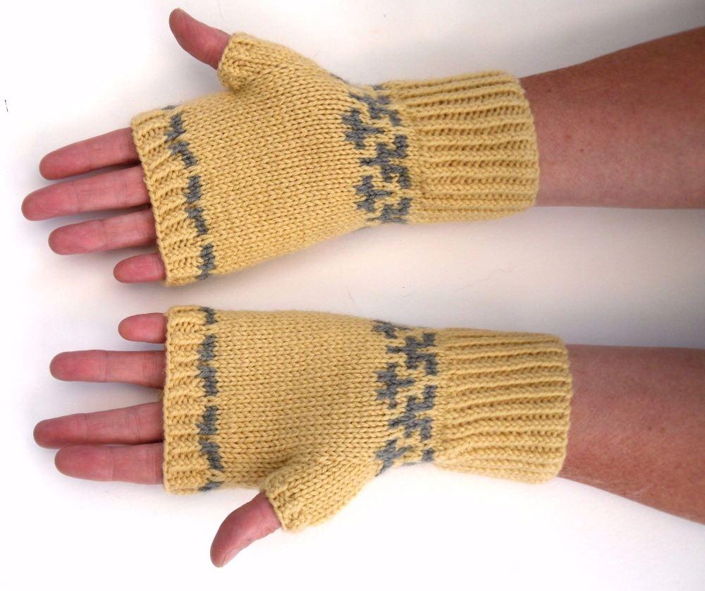 Lemon / Grey Fingerless gloves
