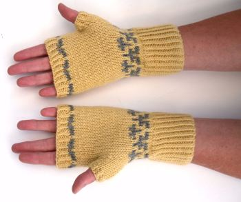 Lemon / Grey Fingerless gloves