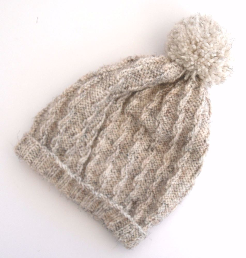 Cream Beanie hat with pom pom
