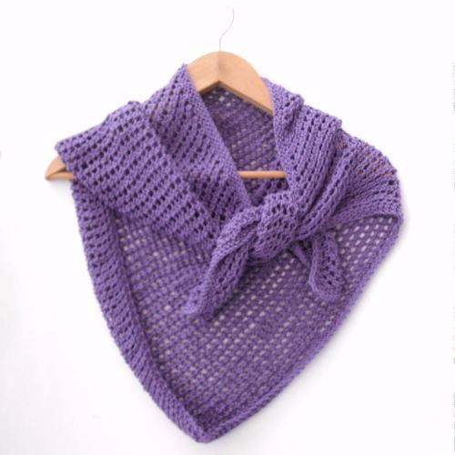 Asymmetrical lace cotton shawl