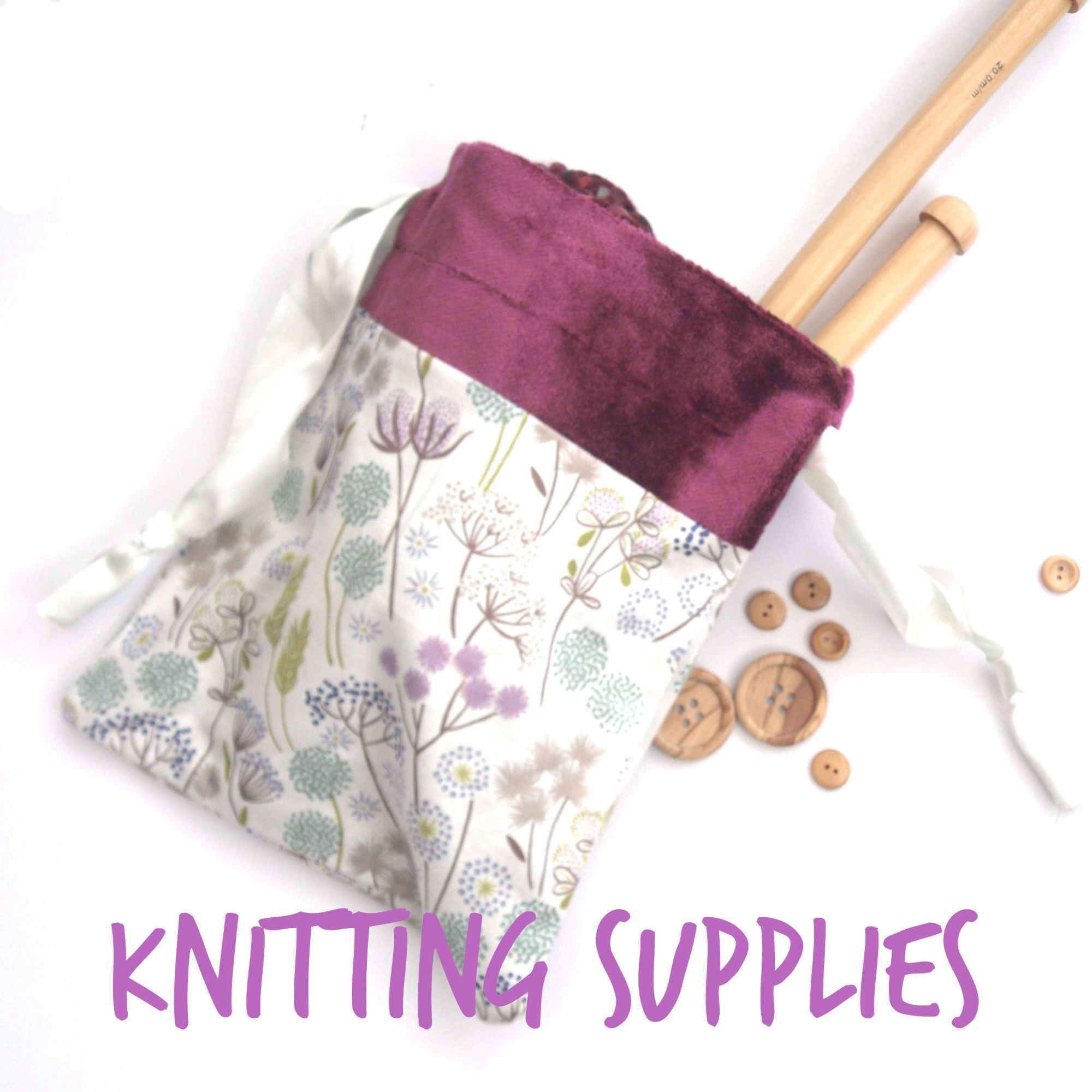 knitting supplies - needles, yarn etc