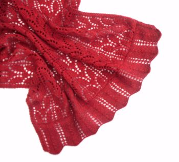 Red Lace Hand knit Shawl    SALE