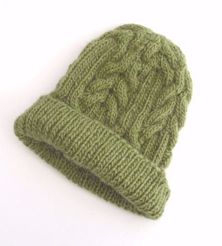 Green cabled beanie hat , customised knit