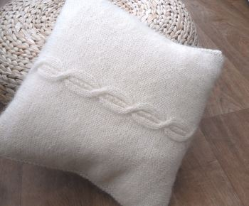 "Mohair Cable Cushion 14"" x 14"""