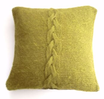 "Green Hand Knit Cushion 14"" x 14"""
