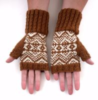 Copper / White 100% wool Fingerless gloves