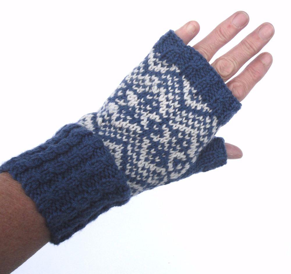 Blue / Grey 100% wool Fingerless gloves