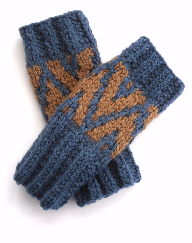 Blue / Copper chunky Fingerless gloves