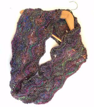 Chunky Mohair / Wool / Silk Flowery Infinity Scarf