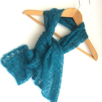 Mohair lace scarf in teal