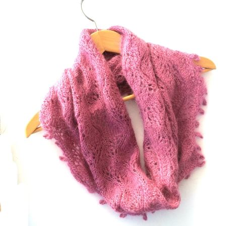 Lace Cowl in pink mohair