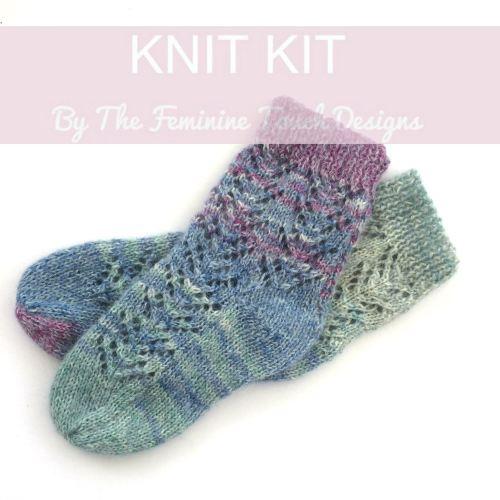 Lace Bed Socks Diy Set Hand Knit Kit Full Instructions Yarn