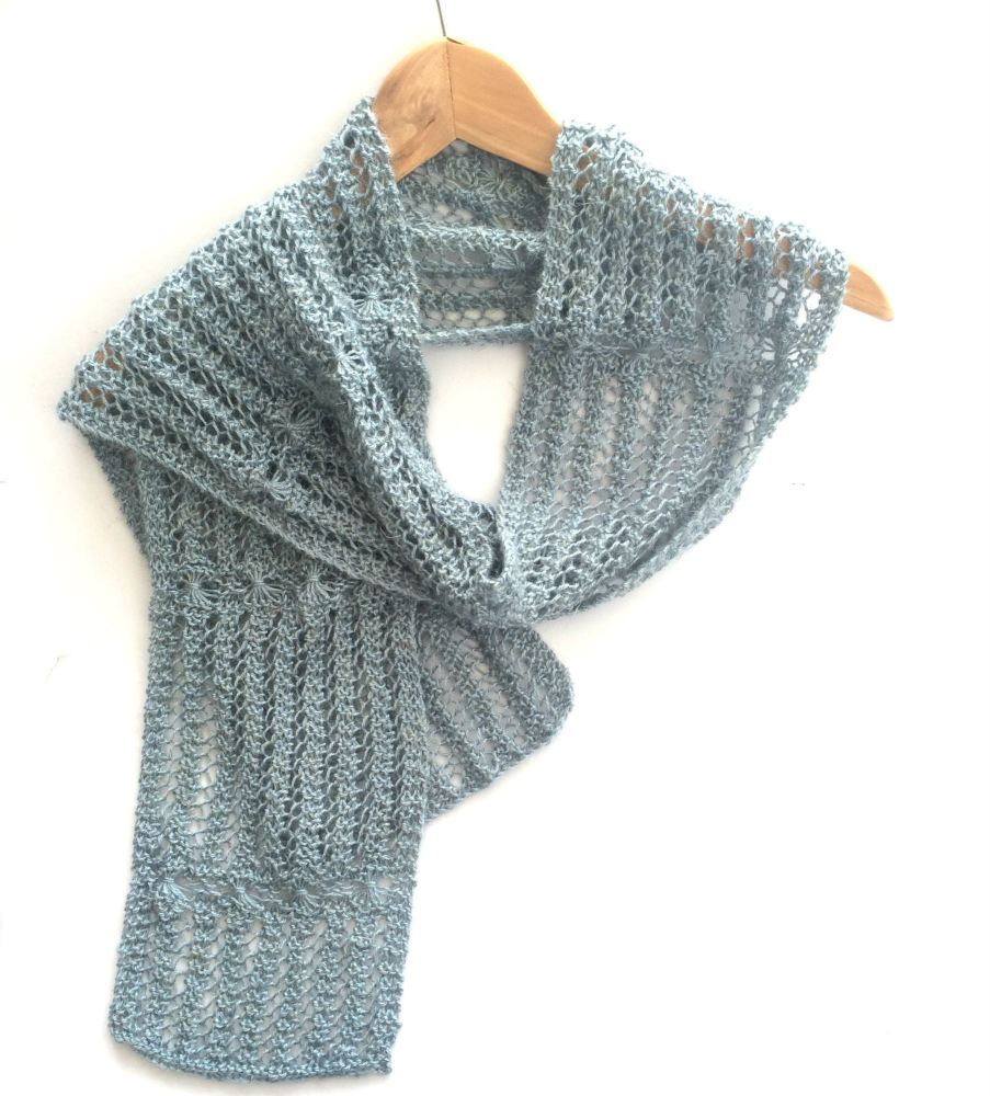 Light Blue hand knit lace scarf