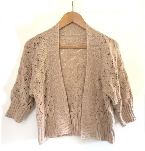 Wedding Lace Bolero Style hand knit Jacket in baby alpaca