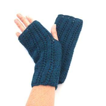Teal Blue Alpaca / Wool Fingerless gloves