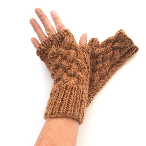 Copper cable wool fingerless gloves