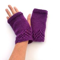 Purple lace fingerless gloves   SALE