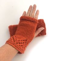 Orange lace fingerless gloves