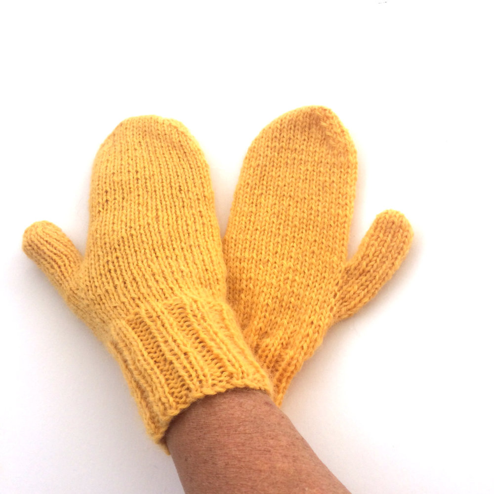 Yellow Wool Mittens
