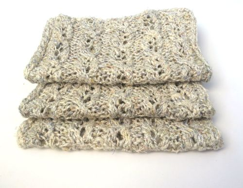 Cream hand knit lace scarf