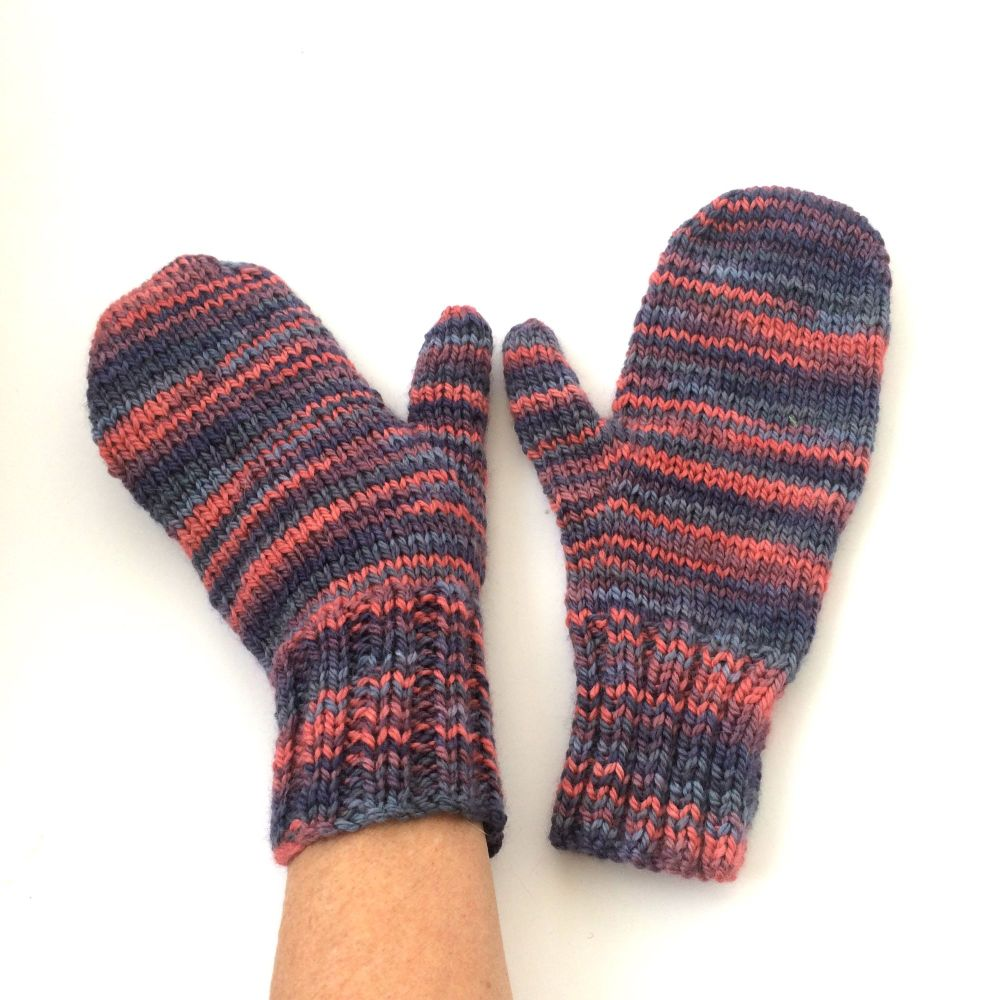 Pink Blue Wool / Silk  Mittens