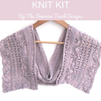 Flower row crescent shaped shawl kit