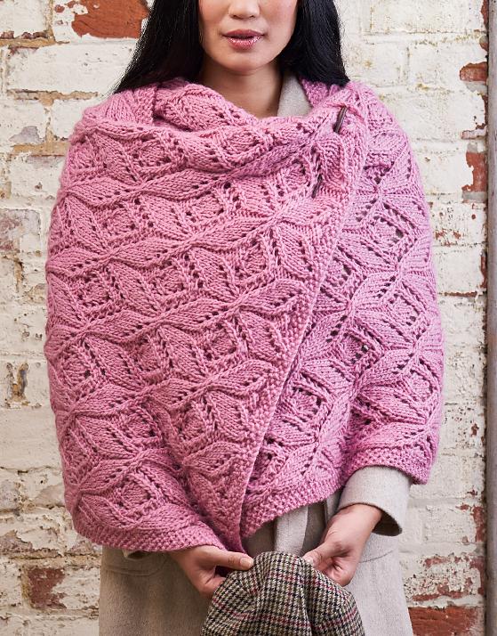 Cyclamen Chunky Lace Wrap Knitting Pattern