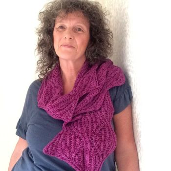 Reversible  hand knitted lace scarf