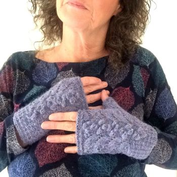 Blue Tweed Lace Fingerless gloves, 100% wool