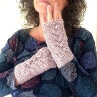 Light Pink Tweed Lace Fingerless gloves, 100% wool