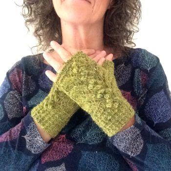Green Tweed Lace Fingerless gloves, 100% wool
