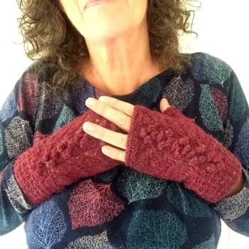Red Tweed Lace Fingerless gloves, 100% wool