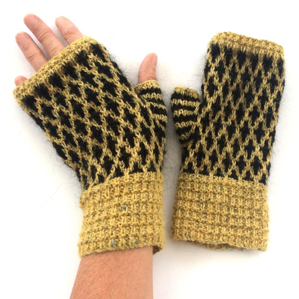 Mustard & Black wool fingerless gloves