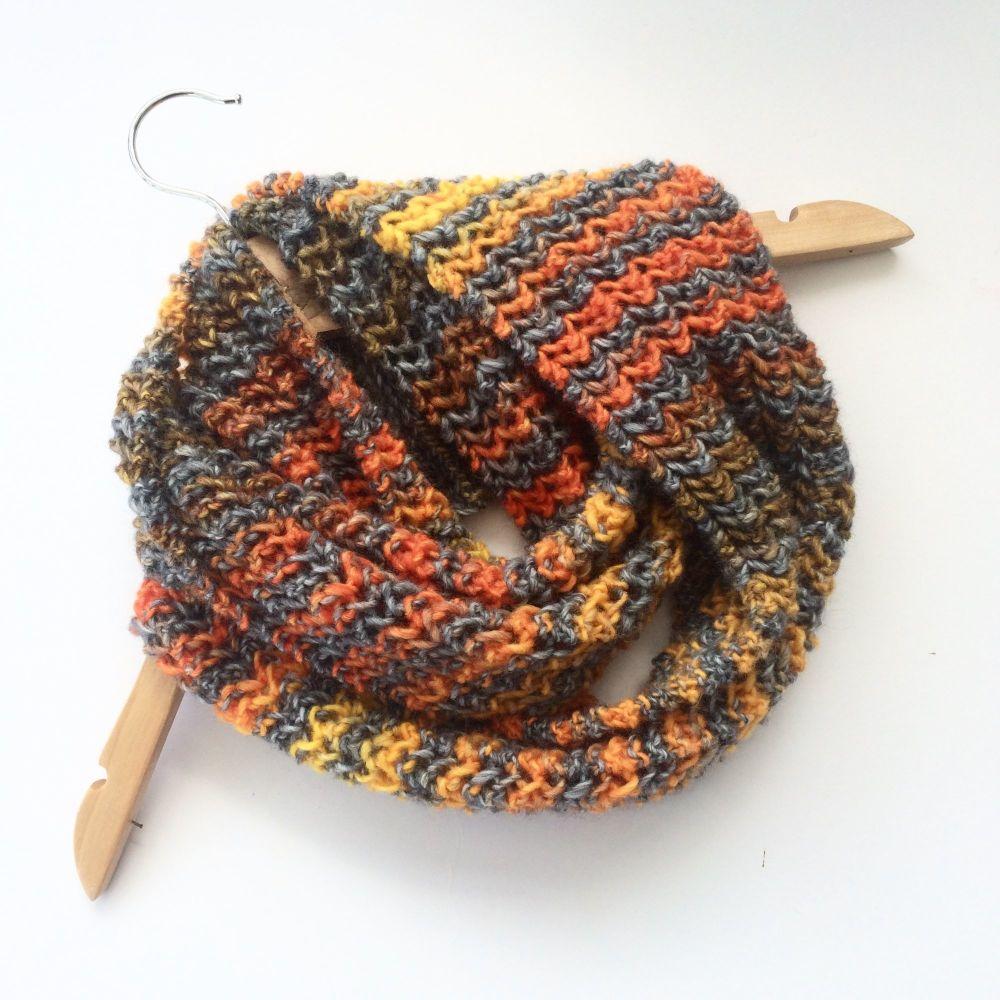 Grey Orange Striped cowl scarf