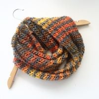 Grey Orange Striped cowl scarf