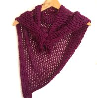 Plum asymmetrical lace cotton shawl    SALE