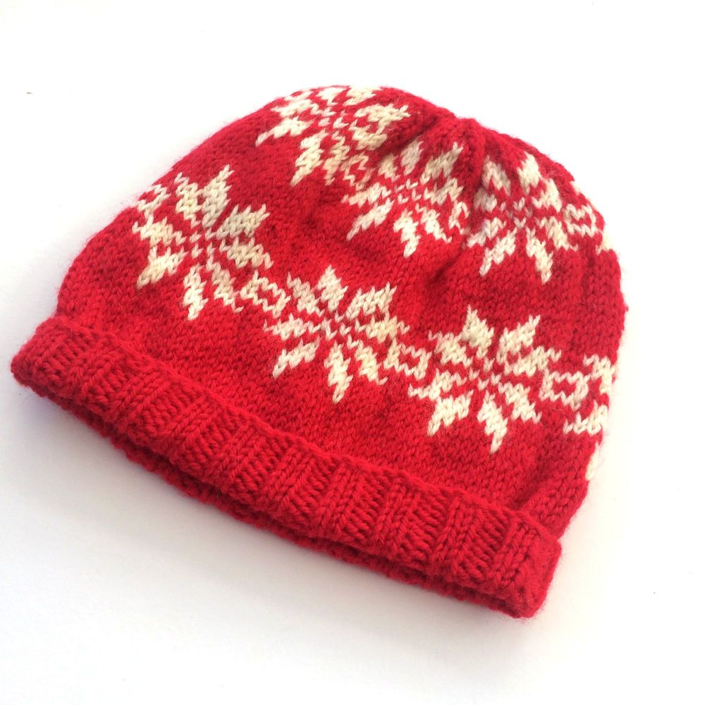 Fair Isle hand knit Christmas hat