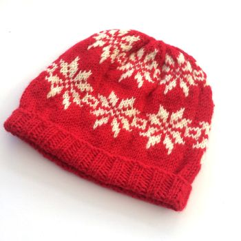 Fair Isle hand knit Christmas hat