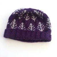 Purple Trees hand knit hat